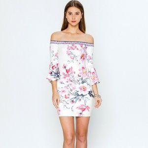 Bell sleeve off shoulder asian floral print dress